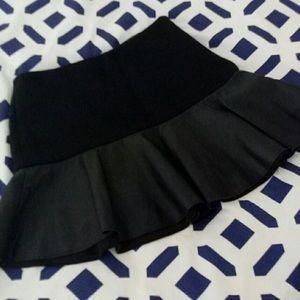Zara black mini skirt with leather flare style